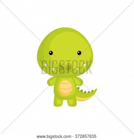 Cute Funny Baby Crocodile Isolated On White Background. Adorable Animal Character For Design Of Albu