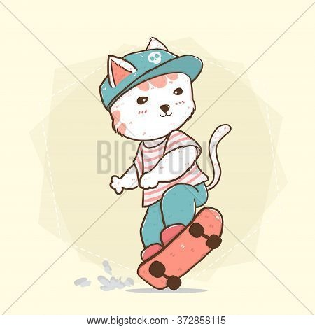 Cute Flat Vector Skate Boy Cat On Skateboard, Idea For Greeting Card, Children Kid Stuff Print Cute