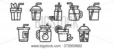 Smoothie Icons Set. Outline Set Of Smoothie Vector Icons For Web Design Isolated On White Background