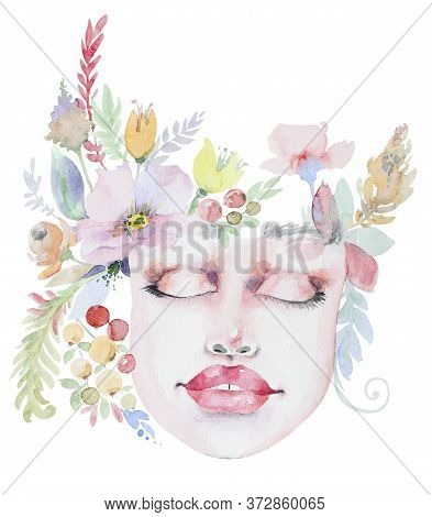 Watercolor Bouquet Of Wildflowers On Beautifull Face. Beauty Woman Face And Flower Composition.