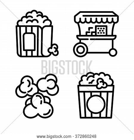 Popcorn Icons Set. Outline Set Of Popcorn Vector Icons For Web Design Isolated On White Background