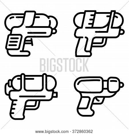 Squirt Gun Icons Set. Outline Set Of Squirt Gun Vector Icons For Web Design Isolated On White Backgr