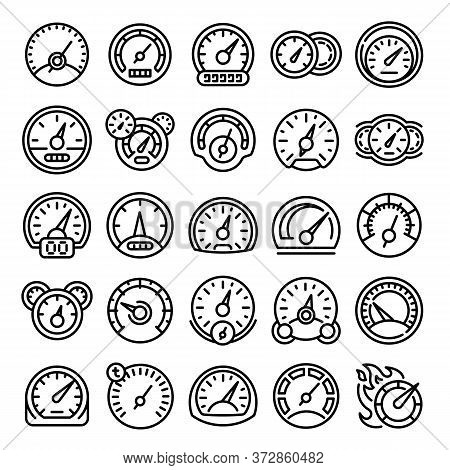 Speedometer Icons Set. Outline Set Of Speedometer Vector Icons For Web Design Isolated On White Back