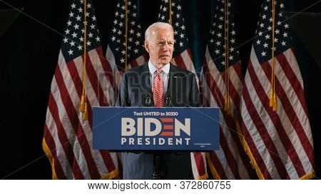Washington Dc,united States,march 2020,us Presidential Candidate Joe Biden In Election Compaign