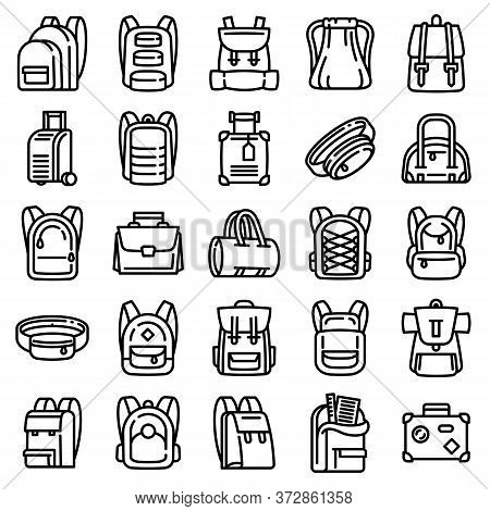 Backpack Icons Set. Outline Set Of Backpack Vector Icons For Web Design Isolated On White Background