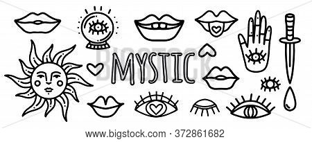 Set Of Hand Drawn Tattoo.vector Set Of Doodle Stickers For Tattoos With Mystical Eyes, Dagger, Lips,