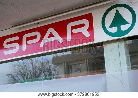 Bordeaux , Aquitaine / France - 12 28 2019 : Spar Market Logo Sign Shop Supermarket Multinational Du