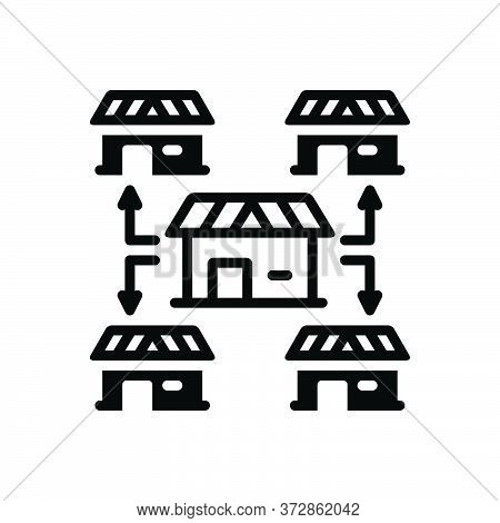 Black Solid Icon For Franchising Opportunity House Entrepreneur Marketing