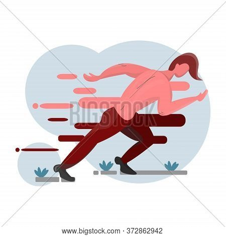 The Portrayal Of The Runner Running With The Onset Of High Speed And Without His Clothes On.
