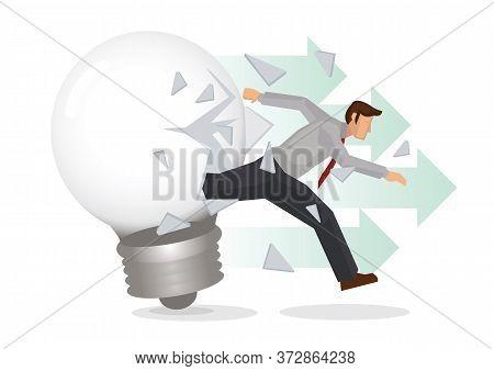 Businessman Breakout From Light Bulb. Concept Of Business Idea Breakthrough. Flat Cartoon Character