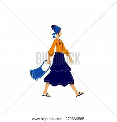 Bohemian Style Female Flat Color Vector Faceless Character. Young Woman In Gypsy Outfit. Music Festi