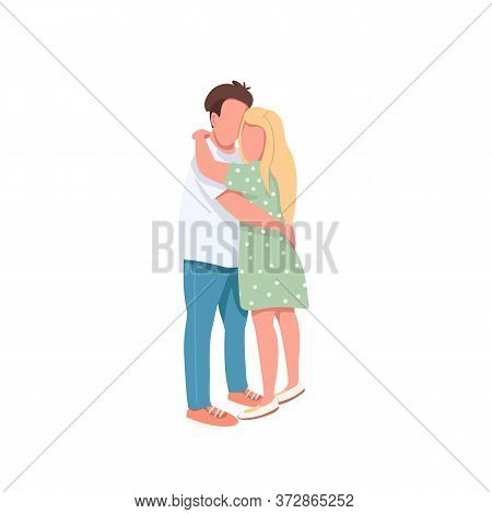Young Man And Woman Flat Color Vector Faceless Characters. Couple On Romantic Date. Close Friends. H