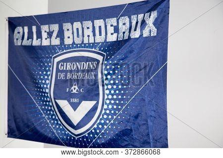 Bordeaux , Aquitaine / France - 10 23 2019 : Flag Sign For Fc Girondins De Bordeaux Logo Football Cl