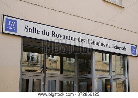 Bordeaux , Aquitaine / France - 03 07 2020 : Temoins De Jehovah Room In Bordeaux France Jehovah  Wit