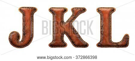 Set of leather letters J, K, L uppercase. 3D render font with skin texture isolated on white background. 3d rendering