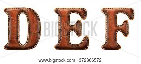 Set of leather letters D, E, F uppercase. 3D render font with skin texture isolated on white background. 3d rendering