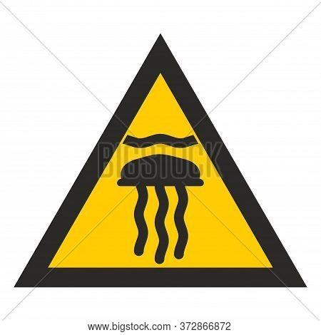 Sign Dangerous Jellyfish. Yellow Triangle Marine Stingers. Warning Marine Danger.  Sign On White Bac