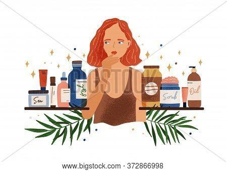 Pensive Woman Choosing Organic Cosmetics Vector Flat Illustration. Thoughtful Female Choose Natural