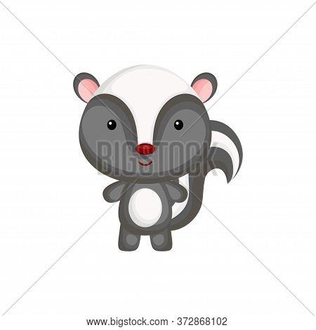 Cute Funny Baby Skunk Isolated On White Background. Adorable Animal Character For Design Of Album, S