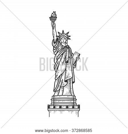 Statue Of Liberty In New York Sketch Engraving Vector Illustration. T-shirt Apparel Print Design. Sc