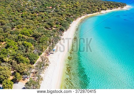 Croatia, Beautiful Island Of Pag, Long Beaches Under Pine Trees, Turquoise Water Of Adriatic Sea On