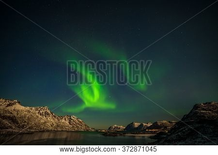 Aurora Borealis, Northern Lights, Northern Lights, Over Fjord Mountains With Many Stars On The Sky I