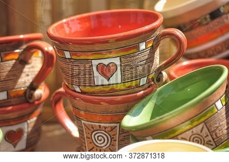 Vintage Thai's Style Porcelain Coffee Cup Handmade. Beautiful Traditional Thai Five-colored Porcelai