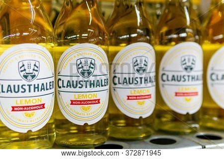 Tyumen, Russia-june 05, 2020: Clausthaler Non-alcoholic German Beer With Lemon. Clausthaler Is The N