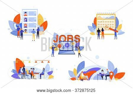 Recruitment, Hr Management, Job Interview, Business Set Concept. Businesspeople Men Women Recruiters