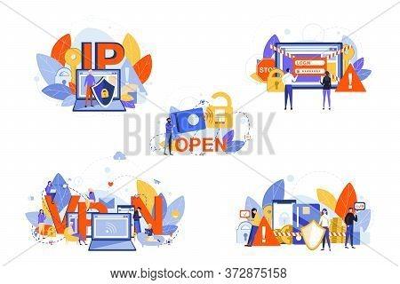 Cyber Security, Internet, Vpn, Ip, Data Protection Set Concept. People Men Women Programmers Using S