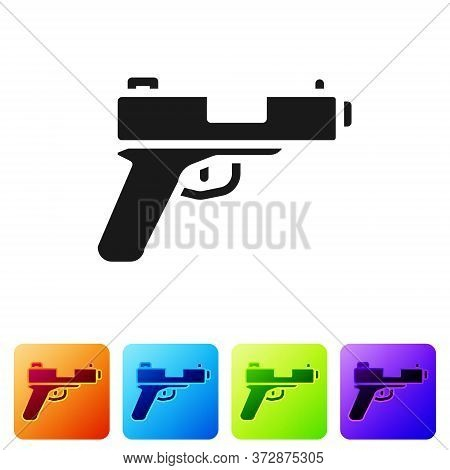 Black Pistol Or Gun Icon Isolated On White Background. Police Or Military Handgun. Small Firearm. Se