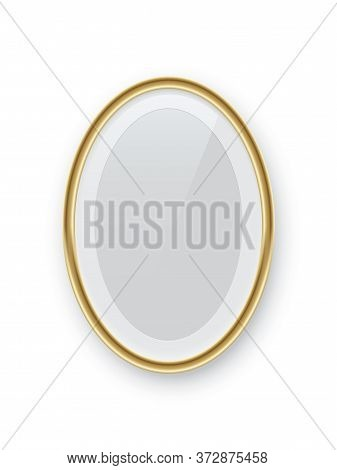 Oval Vertical Golden Picture Or Photo Frame Isolated On White Background. Vector Design Element
