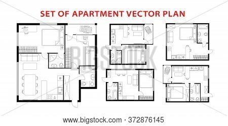 Architecture Plan Apartment Set, Studio, Condominium, Flat, House. One, Two Bedroom Apartment. Inter