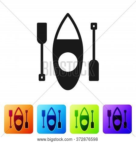 Black Kayak And Paddle Icon Isolated On White Background. Kayak And Canoe For Fishing And Tourism. O
