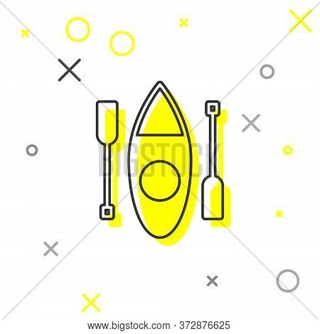 Grey Line Kayak And Paddle Icon Isolated On White Background. Kayak And Canoe For Fishing And Touris
