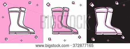Set Fishing Boots Icon Isolated On Pink And White, Black Background. Waterproof Rubber Boot. Gumboot