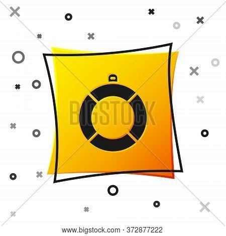 Black Lifebuoy Icon Isolated On White Background. Lifebelt Symbol. Yellow Square Button. Vector