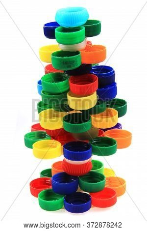 Christmas Tree From Plastic Caps Isolated On The White Background