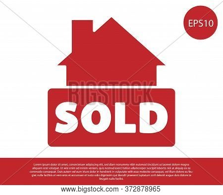 Red Hanging Sign With Text Sold Icon Isolated On White Background. Sold Sticker. Sold Signboard. Vec