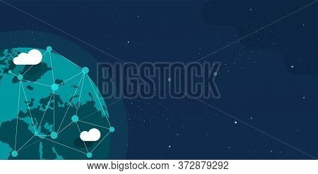 Global Communication Future Technology Business Around The Planet World From Space Web Banner Concep