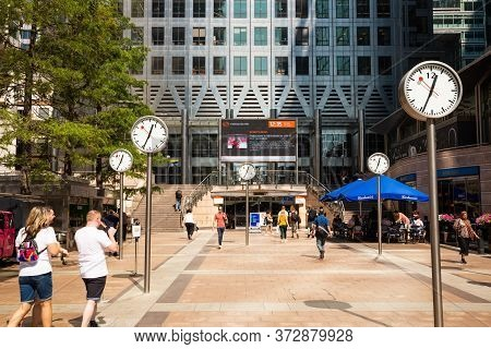 London, Uk - August 26, 2019 -  Canary Wharf Financial District With Corporate Office Modern Buildin
