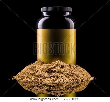 Plastic Jar Of Sport Nutrition Like Whey Protein Casein, Bcaa On Heap Of Powder