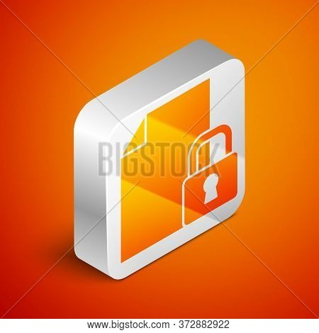 Isometric Document And Lock Icon Isolated On Orange Background. File Format And Padlock. Security, S