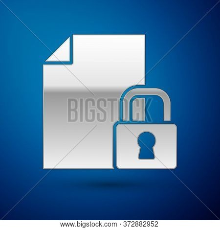 Silver Document And Lock Icon Isolated On Blue Background. File Format And Padlock. Security, Safety