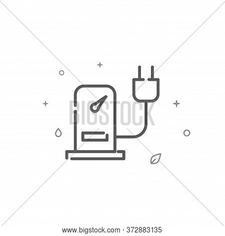 Electric Car Refueling Simple Vector Line Icon. Environment Protection Symbol, Pictogram, Sign. Ligh