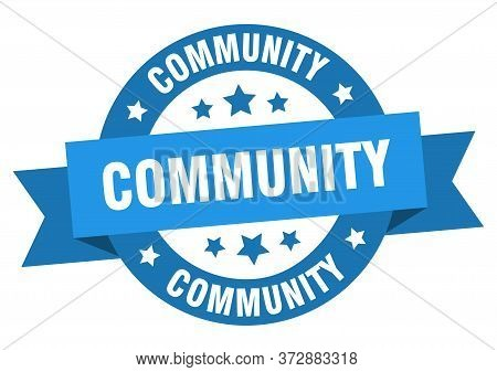 Community Ribbon. Community Round Blue Sign. Community