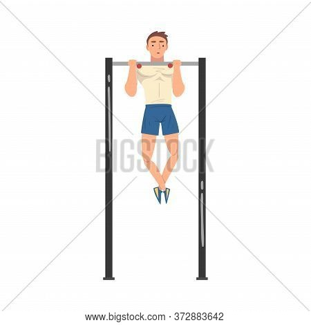 Young Sportsman Making Pull-ups In Gym Vector Illustration