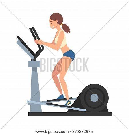 Sportive Woman Training On Elliptical Machine Vector Illustration