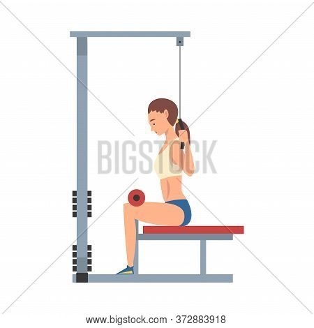 Sportive Woman Training With Gym Machine Vector Illustration
