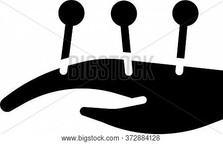 Black Acupuncture Therapy On The Hand Icon Isolated On White Background. Chinese Medicine. Holistic